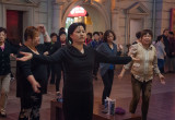 Evening tai chi performance on Nanjing Road