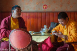 Monks lunching in the Tibetan district of Chengdu