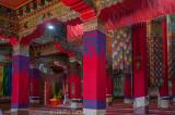 Inside the Dukhang or prayer hall of Tawang Gompa (Buddhist monastery)