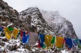 Snow-dusted peaks approaching Se La