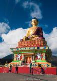 Gilded Buddha commanding a hilltop above Tawang