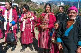 Villagers arrive to celebrate the visit of the distinguished Tibetan lama