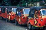 Indonesia: Bajaj or three-wheeler cabs waiting at Blok M, South Jakarta