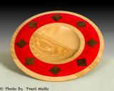 Birch Bowl with red epoxy and Walnut Inlay.