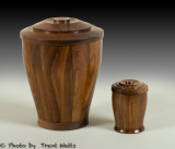 Cremation urn with a smaller keepsake urn made from Walnut.