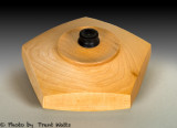 Five sided vessel with lid.
