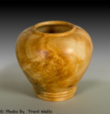 Hollow turned vessel made from Manitoba Maple burl.