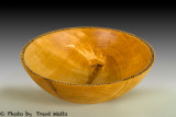 Birch bowl with decorated rim.