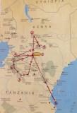 A map of our safari - a real 'dream come true'!
