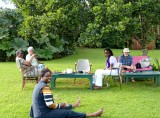 Val, Kennedy, Fiona, Sarah & Jim relaxing in the afternoon over tea (of course!)
