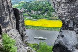 View of the Elbe from High Up on the Bastei Rock Formation Cliffs
