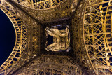 Looking up Beneath the Eiffel Tower