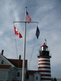 American, Canadian and Maine Flags