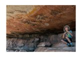 Joseph with ancient rock art, Arnhem Land