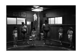 Joseph (second right) at sumo training
