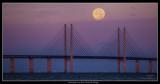 Moonset Over the Öresund Bridge