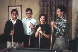 1968 - Shooting pool with Vijay, Claudio and my sister