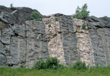 Pegmatite dikes intrude gneiss near Concord, NH