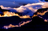 Monsoon clouds backlit at sunset, looking west from Yavapai Point , Grand Canyon National Park, AZ
