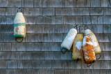 Bouys on the wall of a fishing shack, Peggys Cove, Nova Scotia