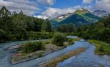Chugach Range and stream along the Alaska Railway route