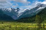 Glacial cirque and hanging vallleys in the Chugach Range along Alaska Railwlay