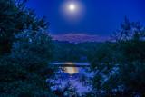 Supermoon. Peace Valley Reservoir, Bucks County, Pennsylvania
