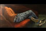 ( Acrylique sur toile, 30 x 60 )  Félix Campeau, le fils adolescent d'un ami, avait pris l'habitude de se reposer sur le futon après ses journées de ski alors que nous, les adultes, terminions tranquillement notre repas. Il a peut-être dormi un peu cette fois-là, mais moi, je n'ai pas beaucoup mangé, occupée que j'étais à peindre ces longues jambes qui me paraissaient interminables !!!
