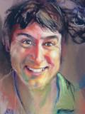 ( pastel sur papier Canson, environ 12 x 16 )  Portrait effectué aux termes d'une commandes. Le but était de faire ressortir le caractère enjoué et un peu moqueur du modèle.