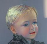 ( Pastel sur papier Canson, environ 10 x 12 )  Portrait sur commande à partir d'une photographie. J'ai tenté de faire ressortir son petit air angélique.