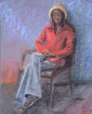 ( pastel sur papier Canson, environ 18 x 25 )  On imagine plus facilement ce sujet dans une rue de la Guadeloupe que assise dans un studio d'artiste! L'intention était d'imaginer l'espoir qui anime les populations moins fortunées que les nôtres.