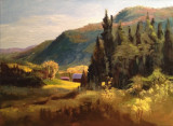 ( Acrylique sur toile, 12 x 16 )  Cette toile est ma deuxième peinture dite sur motif, c'est-à-dire directement sur les lieux du paysage. C'est un exercice très demandant. Il faut peindre assez rapidement avant que les ombrages et les couleurs changent à cause du soleil qui se déplace. Je me suis exécutée en compagnie de Michel Normandeau, mon mentor et artiste reconnu dans les Laurentides pour la peinture de ce genre.