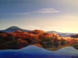 ( acrylique sur toile 36 x 48 )  Ce paysage est inventé de toute pièce à partir de mes souvenir de marche en montagne dans les Laurentides