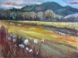 ( Huile sur toile, 12 x 16 )  Peinte tard à l'automne 2013 dans les Laurentides alors que les gris dominent généralement le paysage. Par contraste, les dorés apparaissent plus vibrants.
