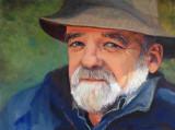 ( Acrylique sur toile 36 x 48 )  J'ai peint le portrait du sociologue à partir d'une excellente photographie de lui.