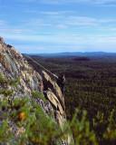 Cette scène a été prise par une amie, elle-même, très aventurière en Abitibi. Je descendais ce flanc rocheux pour aller identifier un nid qui me semblait être celui d'un grand corbeau, pour finalement constater qu'il s'agissait en fait de celui d'un faucon pèlerin.  This scene was captured by an adventurous friend on the cliffs of Chiminis Mountain ( Abitibi / Quebec ). I climbed down the rocky headland to identify a nest that seemed to belong to a raven. Finally it was the nest of a peregrine falcon.