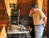 John D. prepping the equioment and sound for the live broadcast of the show