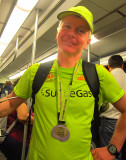 This marathoner finished in 3.5 hours and went home in the subway
