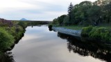 The Bridge Pool on a midge-filled evening, with Slievemore in the background