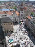 Munich. Marienplatz seen from the Town Hall Tower
