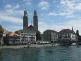 Zurich. Grossmünster and The Limmat River