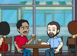 Roy and Bernd having coffee