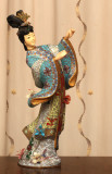 110 Massive vintage Chinese cloisonné faux ivory girl figure 22. 巨型景泰蓝牙人