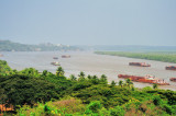 Mandovi River, With The Iron Ore Barges