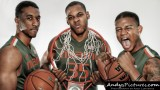 Miami Hurricanes guard Garrius Adams, forward James Kelly & guard Rion Brown