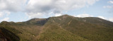 Panorama - Peaks of the Franconia Ridge from lookout point on Old Bridle Path trail