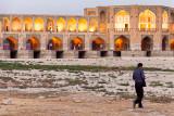 Man beside Khaju Bridge - Isfahan
