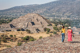 Two women walking on Pyramid of the Sun