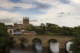 Hereford cathedral from the A49 bridge