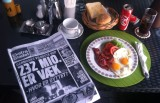 Breakfast at Stable Lodge. Copies of fresh danish and swedish newspapers. (but no regular norwegian ones)